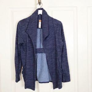 Lucy Heathered Indigo Knit Open Cardigan